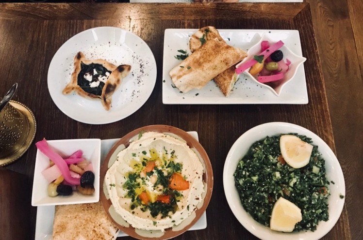 Hummus, Tabbouleh, Halloumi wrap and a spinach pastry