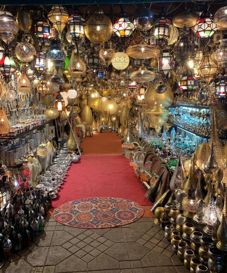 Illuminated lanterns in a Moroccan shop
